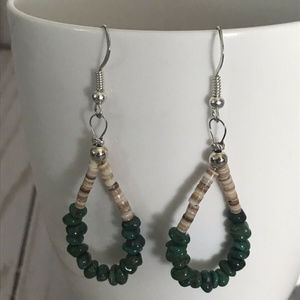 Jewelry - Jade Gemstone And Shell Dangle Earrings